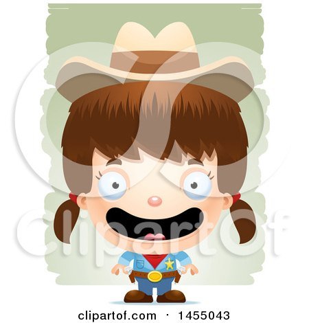 Clipart Graphic of a 3d Happy White Girl Cowgirl Sheriff over Strokes - Royalty Free Vector Illustration by Cory Thoman