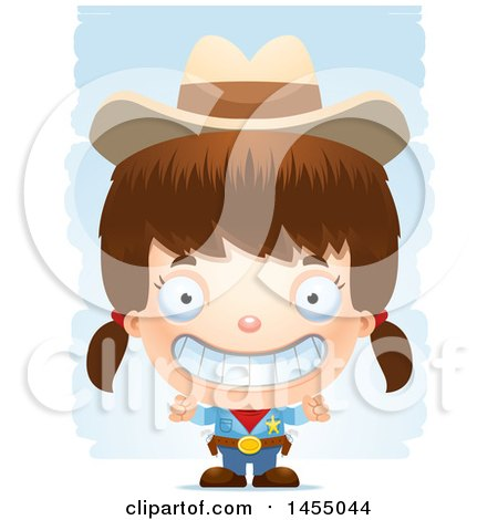 Clipart Graphic of a 3d Grinning White Girl Cowgirl Sheriff over Strokes - Royalty Free Vector Illustration by Cory Thoman