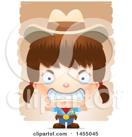 Clipart Graphic of a 3d Mad White Girl Cowgirl Sheriff over Strokes - Royalty Free Vector Illustration by Cory Thoman