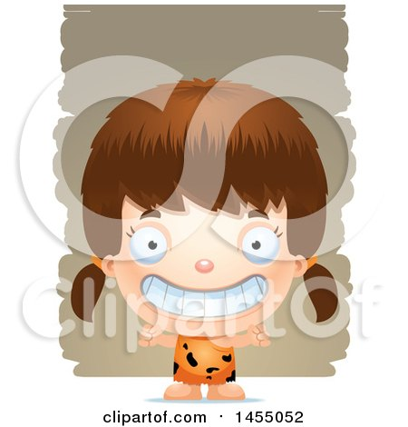 Clipart Graphic of a 3d Grinning White Caveman Girl over Strokes - Royalty Free Vector Illustration by Cory Thoman