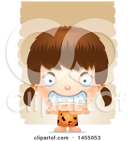 Clipart Graphic of a 3d Mad White Caveman Girl over Strokes - Royalty Free Vector Illustration by Cory Thoman