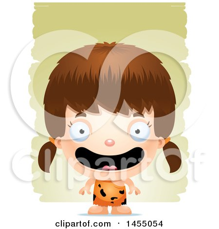 Clipart Graphic of a 3d Happy White Caveman Girl over Strokes - Royalty Free Vector Illustration by Cory Thoman