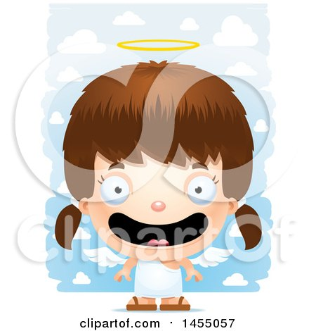 Clipart Graphic of a 3d Happy White Angel Girl over Clouds - Royalty Free Vector Illustration by Cory Thoman