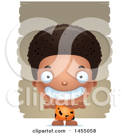 Clipart Graphic of a 3d Grinning Black Caveman Boy over Strokes - Royalty Free Vector Illustration by Cory Thoman
