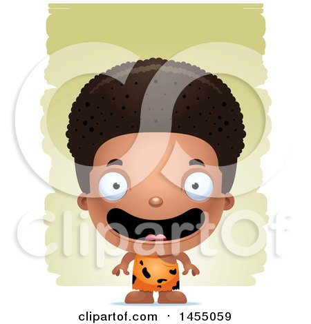 Clipart Graphic of a 3d Happy Black Caveman Boy over Strokes - Royalty Free Vector Illustration by Cory Thoman