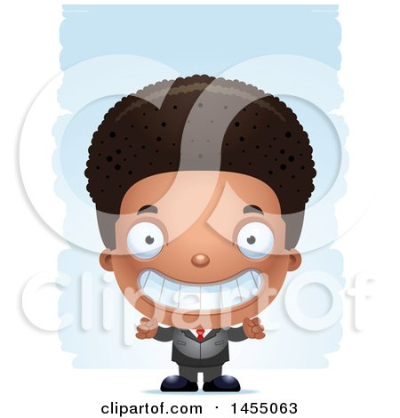 Clipart Graphic of a 3d Grinning Black Business Boy Against Strokes - Royalty Free Vector Illustration by Cory Thoman