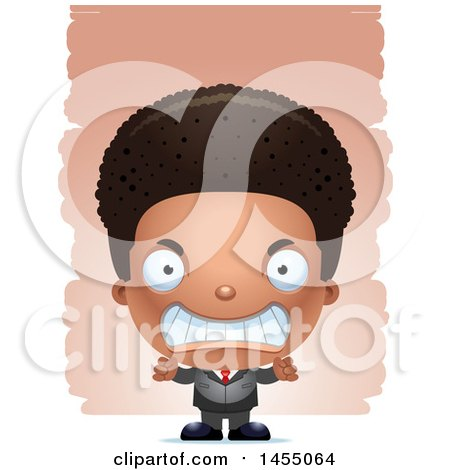 Clipart Graphic of a 3d Mad Black Business Boy Against Strokes - Royalty Free Vector Illustration by Cory Thoman