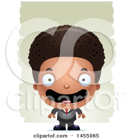 Clipart Graphic of a 3d Happy Black Business Boy Against Strokes - Royalty Free Vector Illustration by Cory Thoman