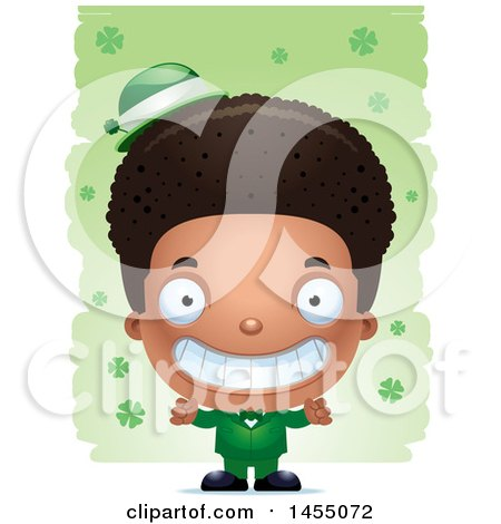 Clipart Graphic of a 3d Grinning Black Irish Boy over St Patricks Day Shamrocks - Royalty Free Vector Illustration by Cory Thoman