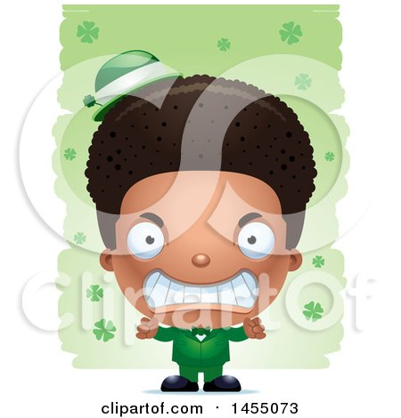 Clipart Graphic of a 3d Mad Black Irish Boy over St Patricks Day Shamrocks - Royalty Free Vector Illustration by Cory Thoman