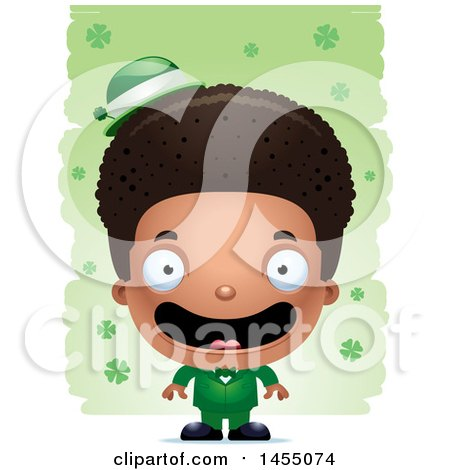 Clipart Graphic of a 3d Happy Black Irish Boy over St Patricks Day Shamrocks - Royalty Free Vector Illustration by Cory Thoman