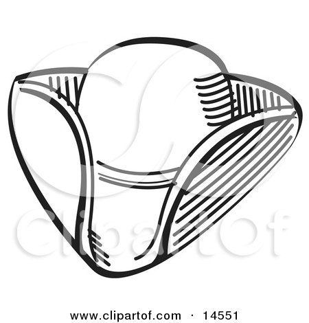 Tricorne Hat in Black and White Clipart Illustration by Andy Nortnik