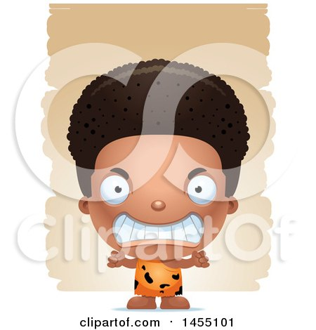 Clipart Graphic of a 3d Mad Black Caveman Boy over Strokes - Royalty Free Vector Illustration by Cory Thoman