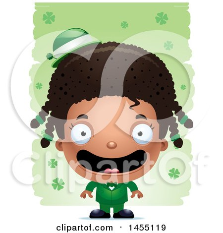 Clipart Graphic of a 3d Happy Black Irish Girl over St Patricks Day Shamrocks - Royalty Free Vector Illustration by Cory Thoman