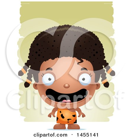 Clipart Graphic of a 3d Happy Black Caveman Girl over Strokes - Royalty Free Vector Illustration by Cory Thoman