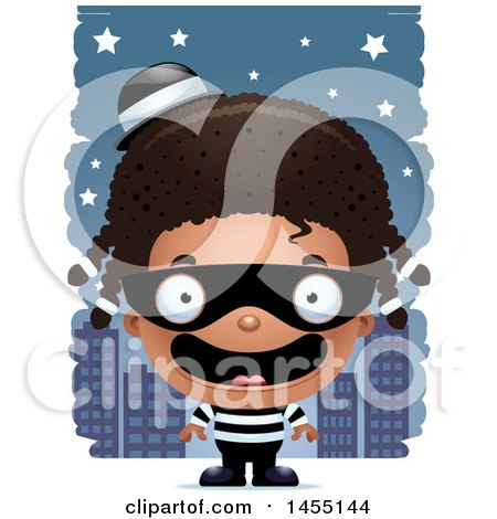 Clipart Graphic of a 3d Happy Black Robber Girl Against a City at Night - Royalty Free Vector Illustration by Cory Thoman