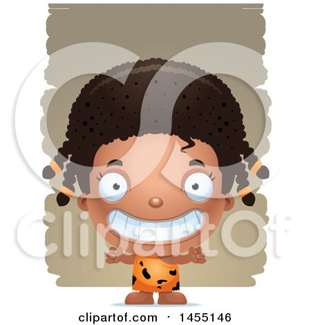 Clipart Graphic of a 3d Grinning Black Caveman Girl over Strokes - Royalty Free Vector Illustration by Cory Thoman