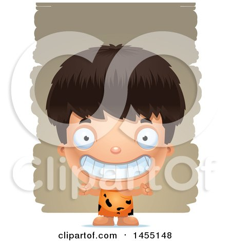 Clipart Graphic of a 3d Grinning Caveman Boy over Strokes - Royalty Free Vector Illustration by Cory Thoman