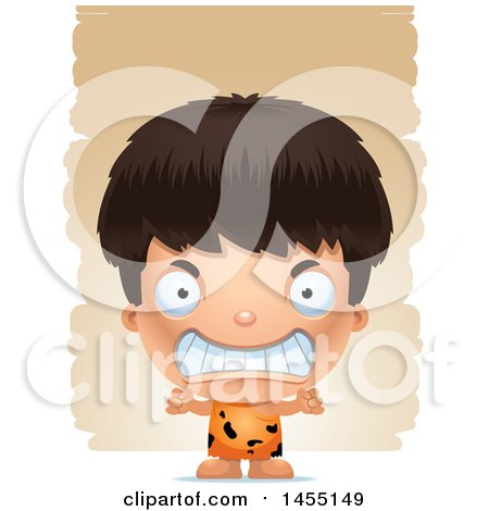 Clipart Graphic of a 3d Mad Caveman Boy over Strokes - Royalty Free Vector Illustration by Cory Thoman