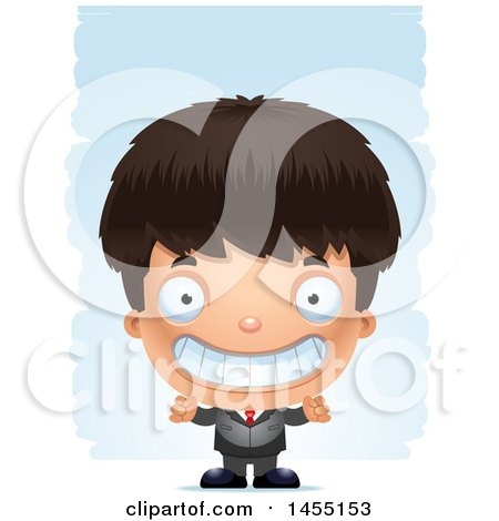 Clipart Graphic of a 3d Grinning Business Boy Against Strokes - Royalty Free Vector Illustration by Cory Thoman