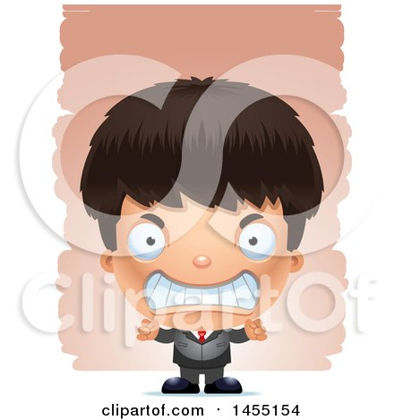 Clipart Graphic of a 3d Mad Business Boy Against Strokes - Royalty Free Vector Illustration by Cory Thoman