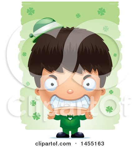 Clipart Graphic of a 3d Mad Irish Boy over St Patricks Day Shamrocks - Royalty Free Vector Illustration by Cory Thoman