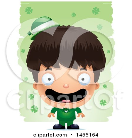 Clipart Graphic of a 3d Happy Irish Boy over St Patricks Day Shamrocks - Royalty Free Vector Illustration by Cory Thoman