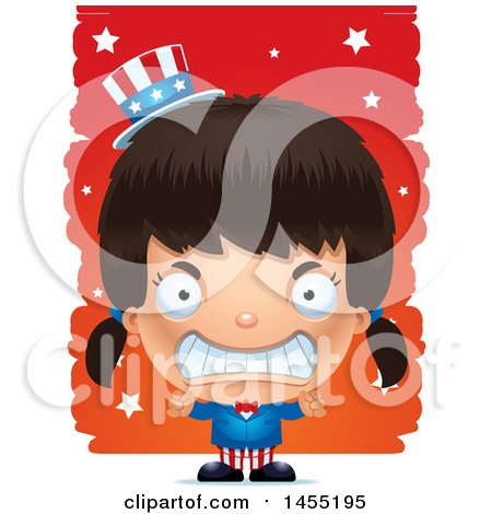 Clipart Graphic of a 3d Mad American Uncle Sam Girl Against Strokes - Royalty Free Vector Illustration by Cory Thoman