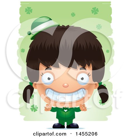 Clipart Graphic of a 3d Grinning Irish Girl over St Patricks Day Shamrocks - Royalty Free Vector Illustration by Cory Thoman
