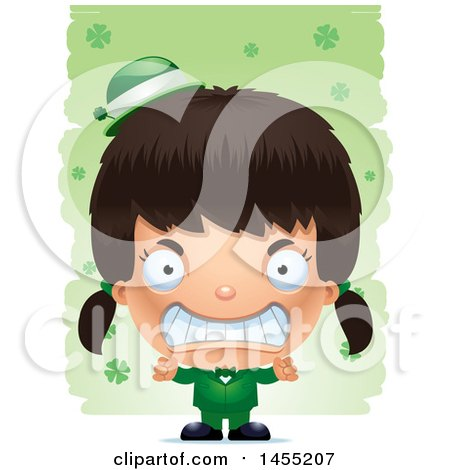 Clipart Graphic of a 3d Mad Irish Girl over St Patricks Day Shamrocks - Royalty Free Vector Illustration by Cory Thoman