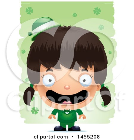 Clipart Graphic of a 3d Happy Irish Girl over St Patricks Day Shamrocks - Royalty Free Vector Illustration by Cory Thoman