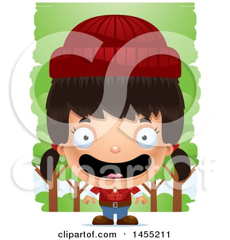 Clipart Graphic of a 3d Happy Lumberjack Girl in the Woods - Royalty Free Vector Illustration by Cory Thoman
