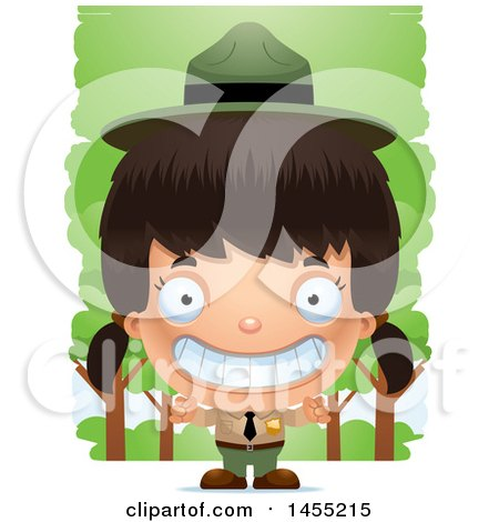 Clipart Graphic of a 3d Grinning Park Ranger Girl in the Woods - Royalty Free Vector Illustration by Cory Thoman