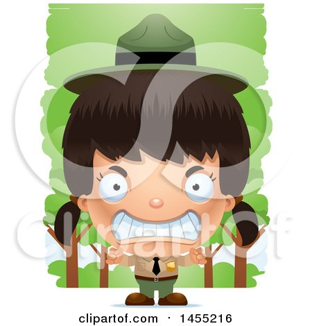 Clipart Graphic of a 3d Mad Park Ranger Girl in the Woods - Royalty Free Vector Illustration by Cory Thoman