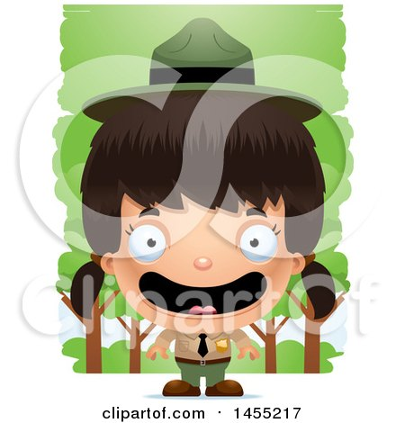 Clipart Graphic of a 3d Happy Park Ranger Girl in the Woods - Royalty Free Vector Illustration by Cory Thoman