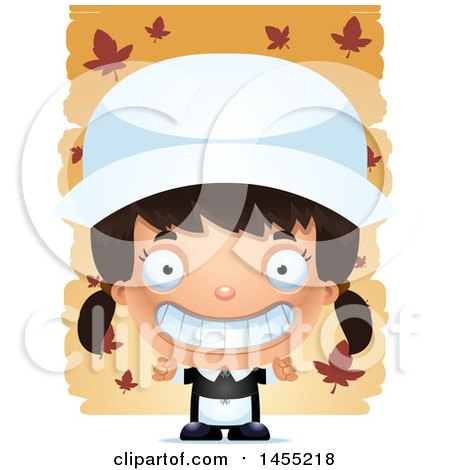 Clipart Graphic of a 3d Grinning Pilgrim Girl over Leaves - Royalty Free Vector Illustration by Cory Thoman