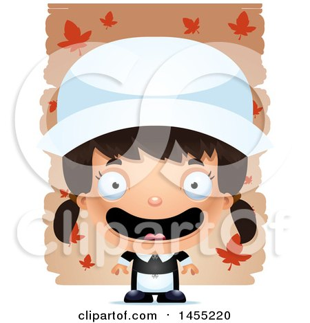 Clipart Graphic of a 3d Mad Pilgrim Girl over Leaves - Royalty Free Vector Illustration by Cory Thoman