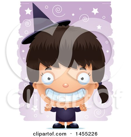 Clipart Graphic of a 3d Grinning Witch Girl over a Spiral and Star Pattern - Royalty Free Vector Illustration by Cory Thoman