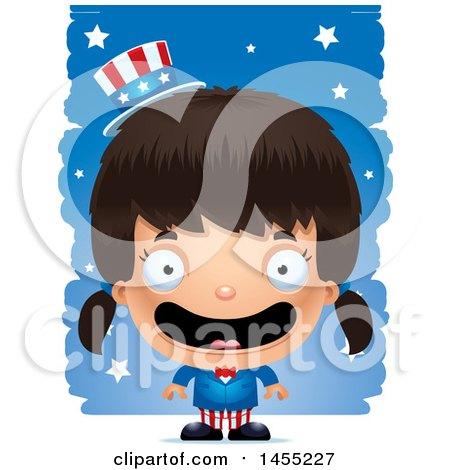 Clipart Graphic of a 3d Happy American Uncle Sam Girl Against Strokes - Royalty Free Vector Illustration by Cory Thoman