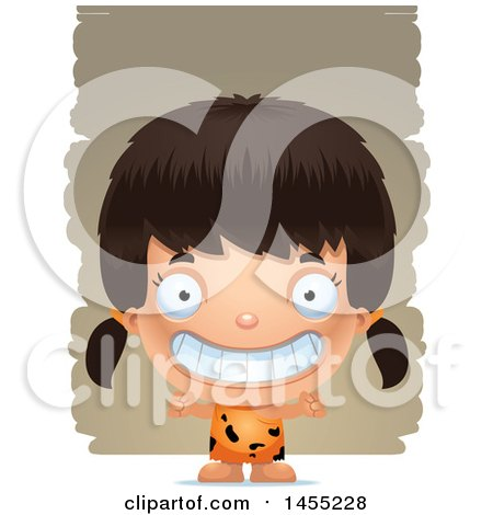 Clipart Graphic of a 3d Grinning Caveman Girl over Strokes - Royalty Free Vector Illustration by Cory Thoman