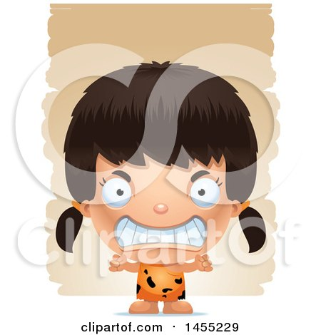 Clipart Graphic of a 3d Mad Caveman Girl over Strokes - Royalty Free Vector Illustration by Cory Thoman