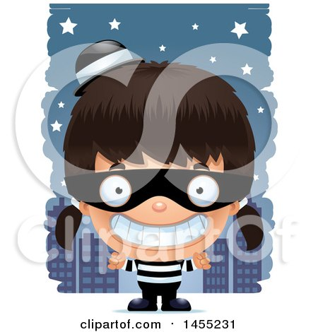 Clipart Graphic of a 3d Grinning Robber Girl Against a City at Night - Royalty Free Vector Illustration by Cory Thoman