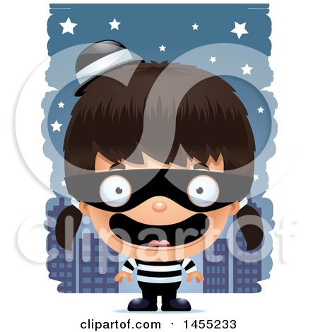Clipart Graphic of a 3d Happy Robber Girl Against a City at Night - Royalty Free Vector Illustration by Cory Thoman