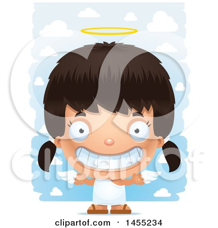 Clipart Graphic of a 3d Grinning Angel Girl over Clouds - Royalty Free Vector Illustration by Cory Thoman