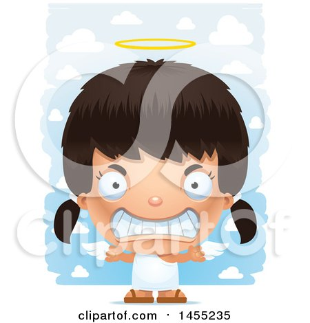 Clipart Graphic of a 3d Mad Angel Girl over Clouds - Royalty Free Vector Illustration by Cory Thoman