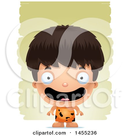Clipart Graphic of a 3d Happy Caveman Boy over Strokes - Royalty Free Vector Illustration by Cory Thoman