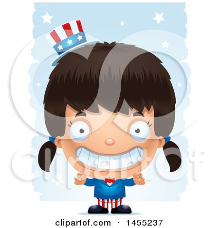 Clipart Graphic of a 3d Grinning American Uncle Sam Girl Against Strokes - Royalty Free Vector Illustration by Cory Thoman