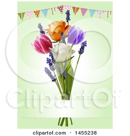 Clipart of a Party Bunting Banner over 3d Tulips, Lavender and Roses on Green - Royalty Free Vector Illustration by elaineitalia