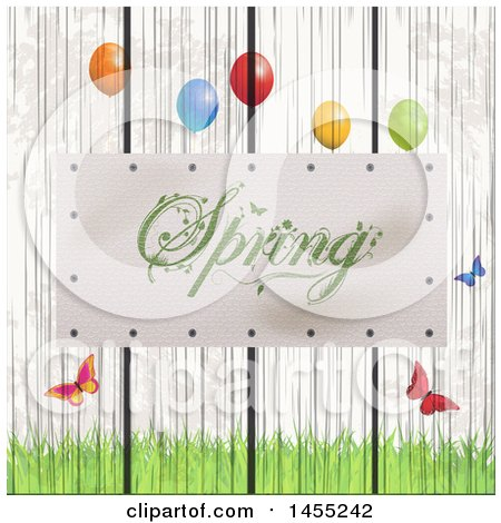 Clipart of a Spring Plaque on a White Wash Wooden Fence with Grass, Butterflies and Party Balloons - Royalty Free Vector Illustration by elaineitalia