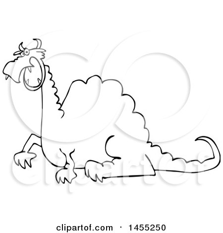 Clipart of a Cartoon Black and White Angry Dragon - Royalty Free Vector Illustration by djart